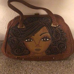 Handmade & Handpainted Black Girl Rattan purse